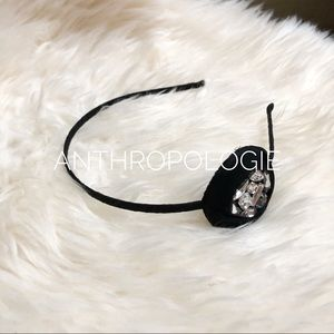 Anthropologie black crystal headband